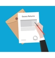 signing excess returns paperworks on top of table vector image