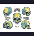 Skulls Hand Drawn Set 3 vector image vector image
