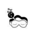 sleep mask with snoring sign in bubble callout vector image