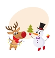 Snowman holding Christmas tree and reindeer with a vector image vector image