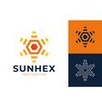 sun hexagon gear logo creative morning modern sun vector image vector image