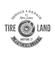 Vintage tire service label design Retro emblem in vector image