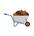wheelbarrow and shit turd in garden trolley vector image vector image