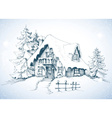 Winter idyllic landscape pine trees and house in vector image