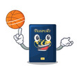 with basketball blue passport in the cartoon form vector image vector image