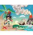 Pirate on the island vector image