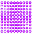 100 programmer icons set purple vector image vector image
