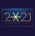 2021 new year gold snowflake deep blue bg vector image