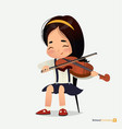 asian girl in blue skirt sit on chair play violin vector image vector image