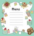 bakery doodle menu board vector image vector image