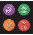 Berries and fruit flat linear icons set vector image vector image