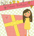 Birthday Greeting with Girl and Gift vector image vector image
