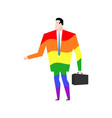 businessman is gay rainbow clothes lgbt manager vector image