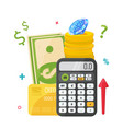 calculator with money coins diamond and credit vector image
