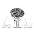 cartoon group lumberjacks going to cut or vector image vector image
