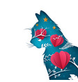 cartoon paper cat heart air balloon vector image vector image