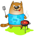 cat cooks of grilled vector image vector image