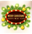 Christmas banner with yellow toys vector image