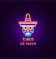 cinco de mayo neon label vector image