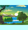 countryside - house by the waterfall vector image vector image
