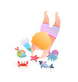 cute child kid swimming and diving in ocean vector image vector image