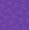 cute seamless pattern with origami birds vector image vector image