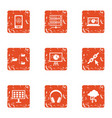 cyber life icons set grunge style vector image
