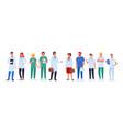 doctor nurse team set medic workers in uniform vector image