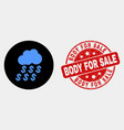 dollar rain cloud icon and scratched body vector image vector image