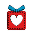 drawing red gift box heart love present vector image vector image