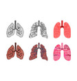 drawings of human lungs in different styles of vector image