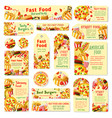 fast food restaurant tag and cafe menu card design vector image vector image
