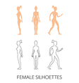 female silhouettes front back and side vector image vector image