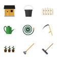 flat icon dacha set of harrow pail wooden vector image vector image