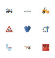 flat icons hoisting machine handcart mitten vector image vector image