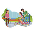 flat learning to ride bike vector image vector image