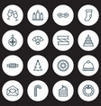 happy icons set with candy cane hand fan festive vector image vector image