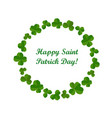 happy stpatricks day card with cute shamrock vector image