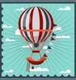 hot air balloon retro poster vector image vector image