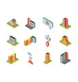 isometric buildings real estate location icons set vector image