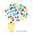 Isometric icons collection of human brain process vector image vector image