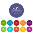 jurassic lizard icons set color vector image vector image