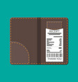leather folder for cash coins and cashier check vector image