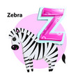 letter z for zebra cartoon alphabet for children vector image vector image