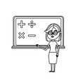 line woman teacher teaching to the student in the vector image vector image