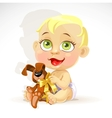 Little baby in a diaper with plush rabbit vector image vector image
