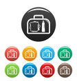 lunch sandwich box icons set color vector image vector image