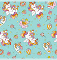 magic seamless pattern with cute unicorns vector image