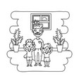 man with children black and white vector image