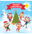 Merry Christmas 2017 Winter fun Cheerful kids vector image vector image